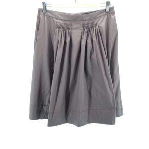Elie Tahari Brown Pleated A Line Skirt Sz M